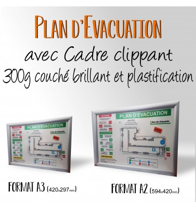 PLAN D'EVACUATION cadre clippant