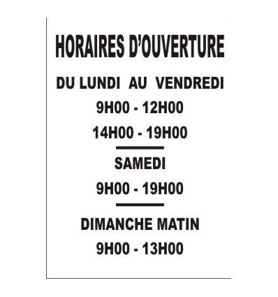 LETTRAGE HORAIRES D'OUVERTURE